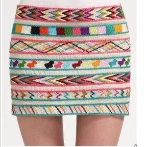 Gryphon Multicolor Embroidered Silk Blend Skirt